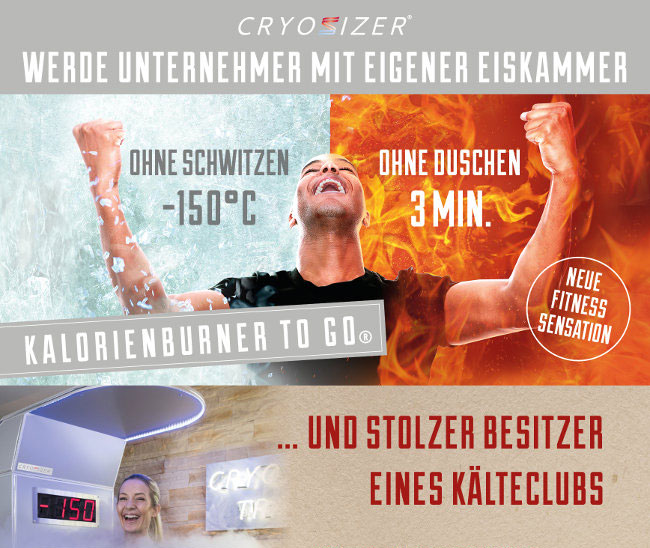DAS CRYOSIZER® FRANCHISE SYSTEM - 3 Minuten bei -150°C - Bringe den Kalorienburner to go® auch in Deine Stadt.