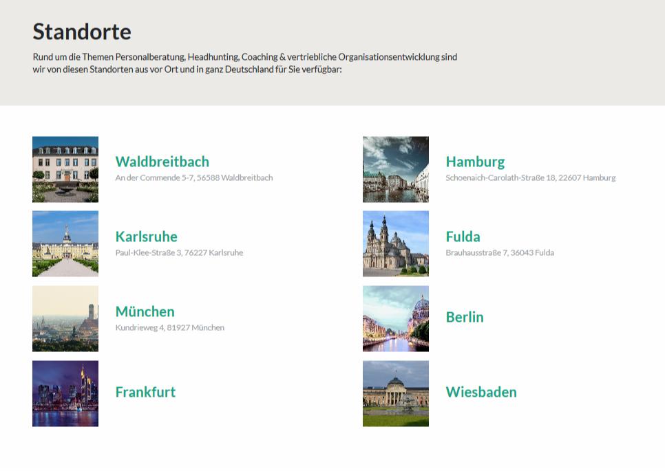 Personalberatung BOLLMANN EXECUTIVES GmbH an derzeit 8 Standorten