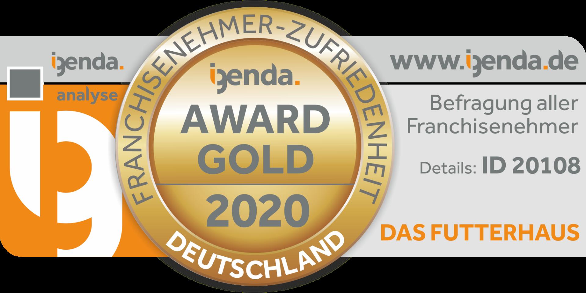 DAS FUTTERHAUS erhält den Gold Award für Franchisepartner-Zufriedenheit